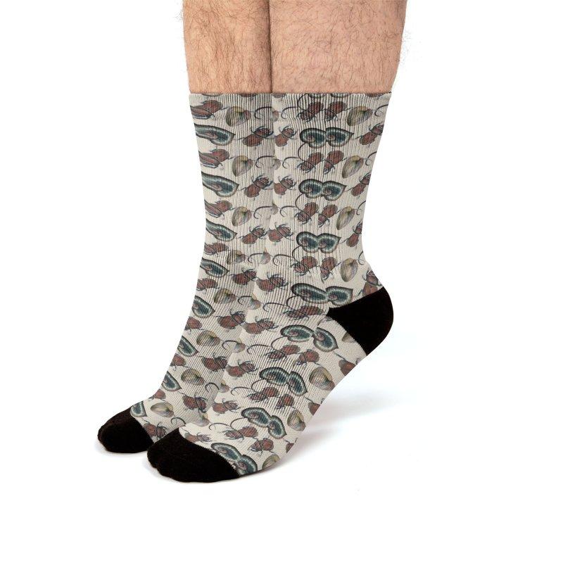 Brown beetle and tropical leaves Men's Socks by Kreativkollektiv designs