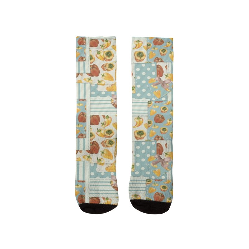 Cute patchwork with red and yellow veggies Women's Socks by Kreativkollektiv designs