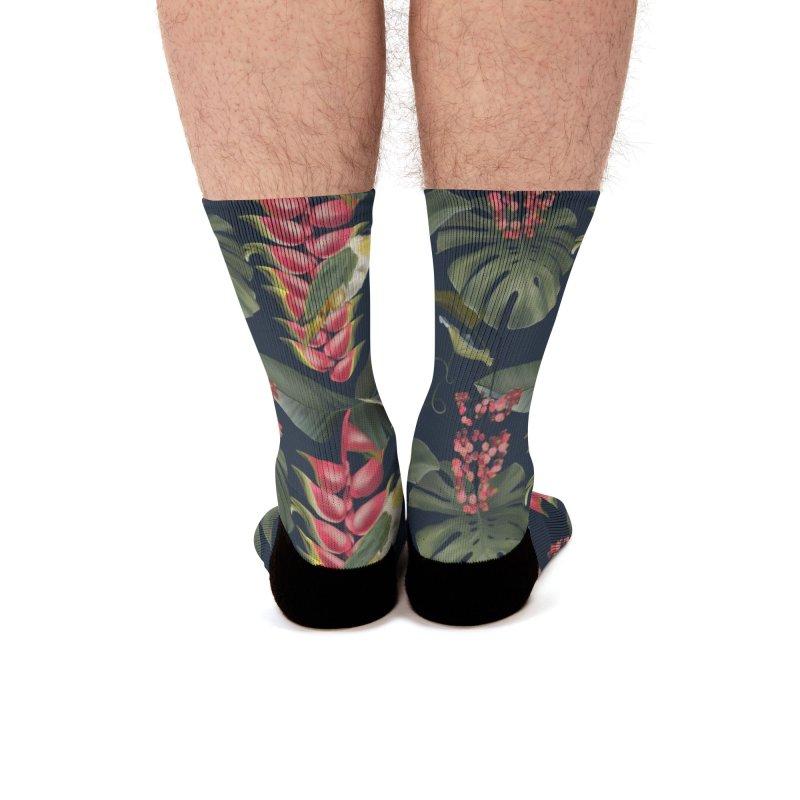 Pink plants and parrots Men's Socks by Kreativkollektiv designs