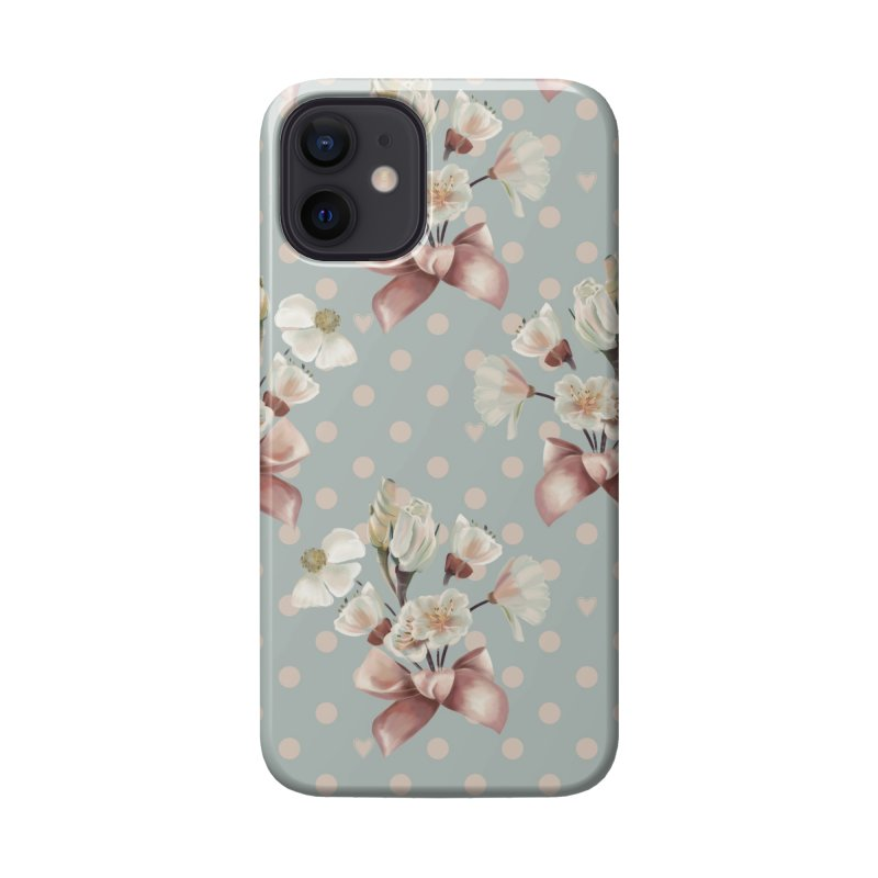 Romantic flowers and a pink bow, polka dots, hearts Accessories Phone Case by KreativkDesigns Artist shop