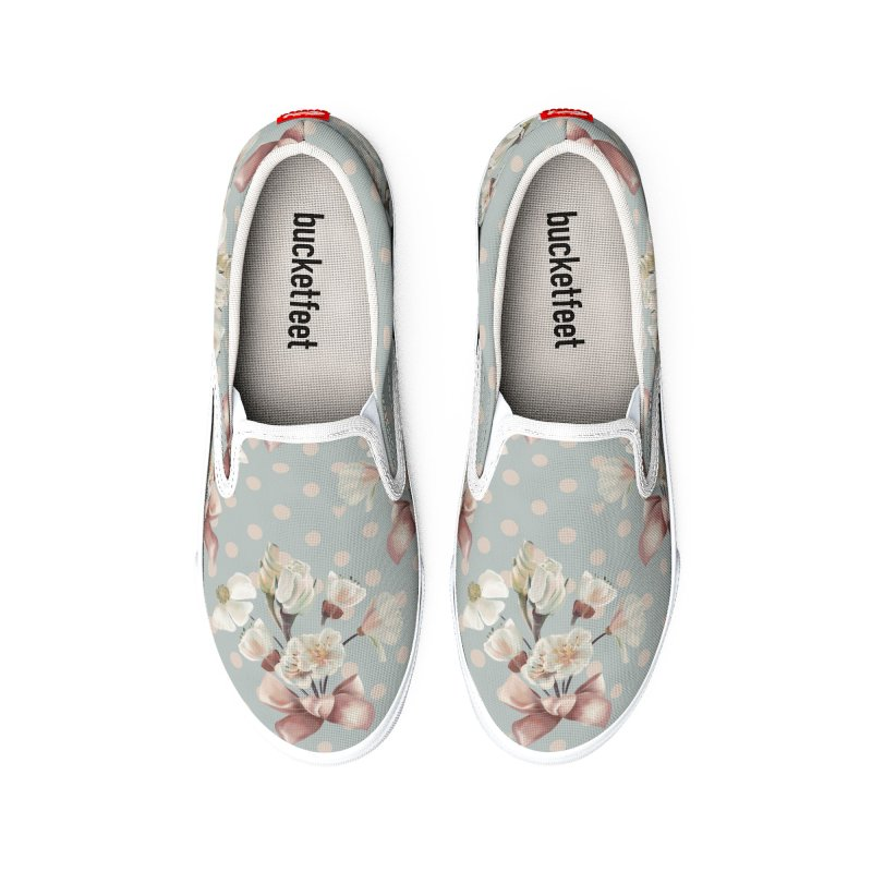 Romantic flowers and a pink bow, polka dots, hearts Women's Shoes by KreativkDesigns Artist shop