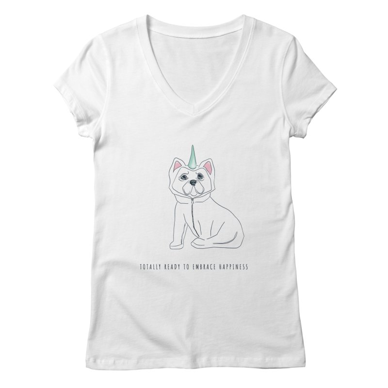 Totally ready to embrace happiness Women's V-Neck by KreativkDesigns Artist shop