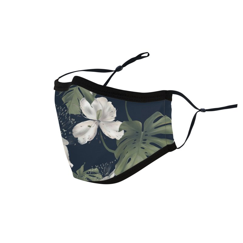 White flowers and monstera Accessories Face Mask by Kreativkollektiv designs