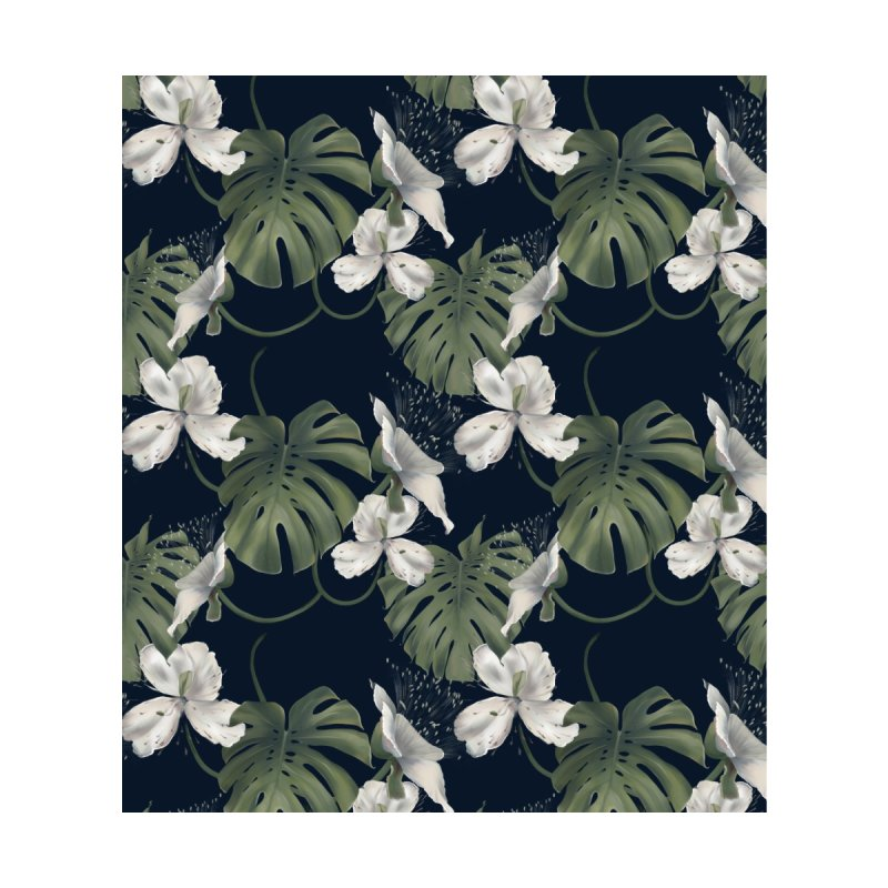 White flowers and monstera Men's Cut & Sew by Kreativkollektiv designs