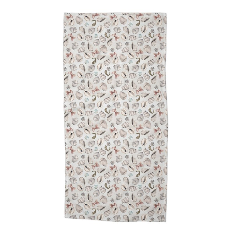 Shells, pearls and ribbons on sand Accessories Beach Towel by Kreativkollektiv designs