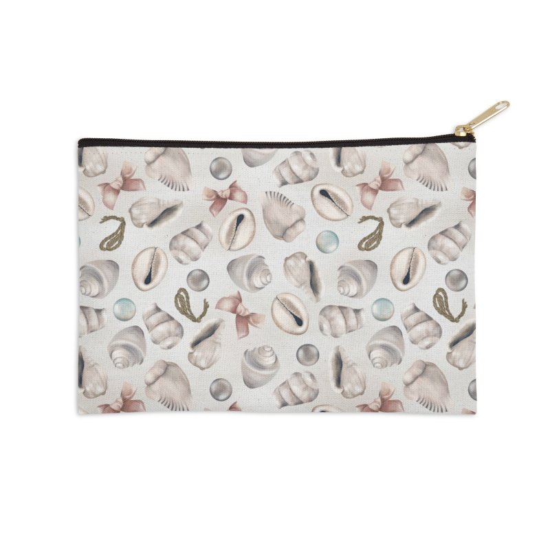 Shells, pearls and ribbons on sand Accessories Zip Pouch by Kreativkollektiv designs