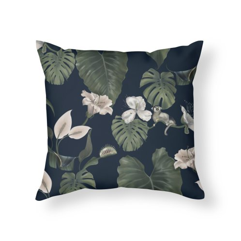 image for Tropical flora and fauna on dark background, large leaves