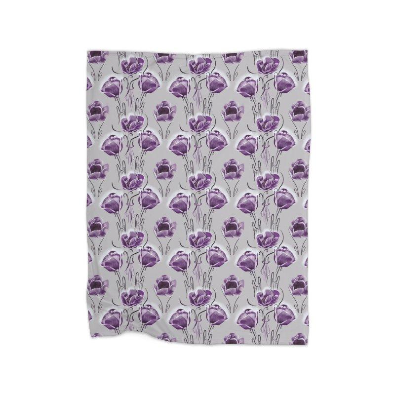 Sad purple anemones Home Blanket by Kreativkollektiv designs