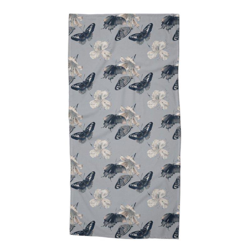 Beautiful butterflies and white flowers Accessories Beach Towel by Kreativkollektiv designs