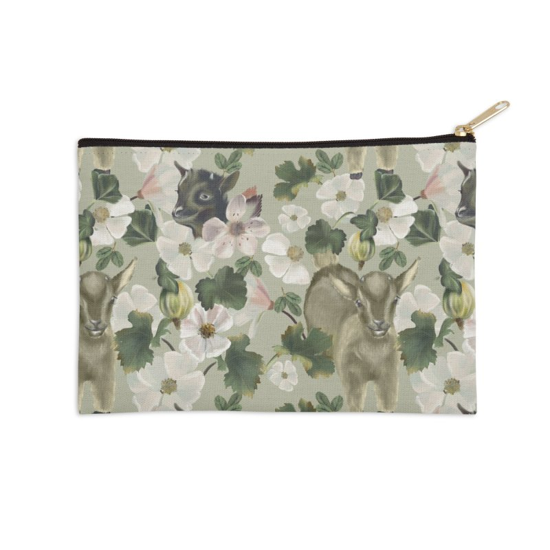 Two cute goats with blooming garden plants Accessories Zip Pouch by Kreativkollektiv designs