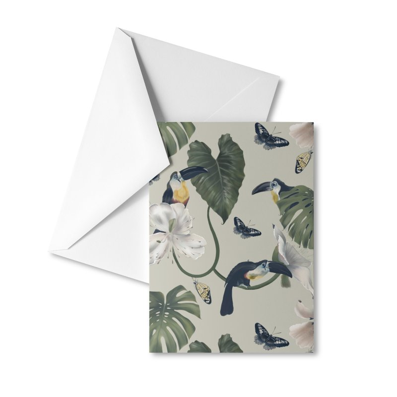 Three funny toucans and butterflies Accessories Greeting Card by KreativkDesigns Artist shop