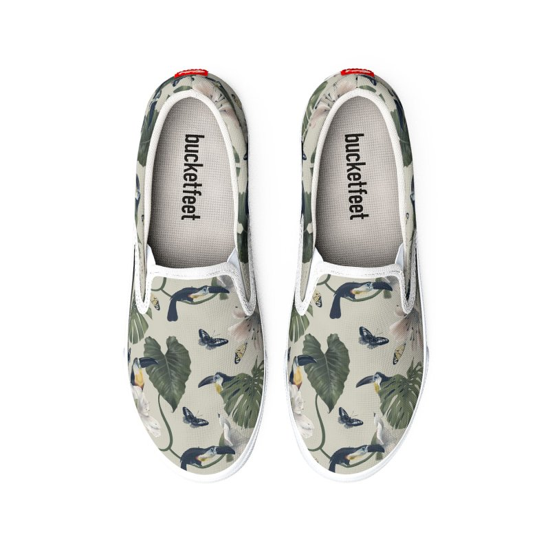 Three funny toucans and butterflies Women's Shoes by Kreativkollektiv designs