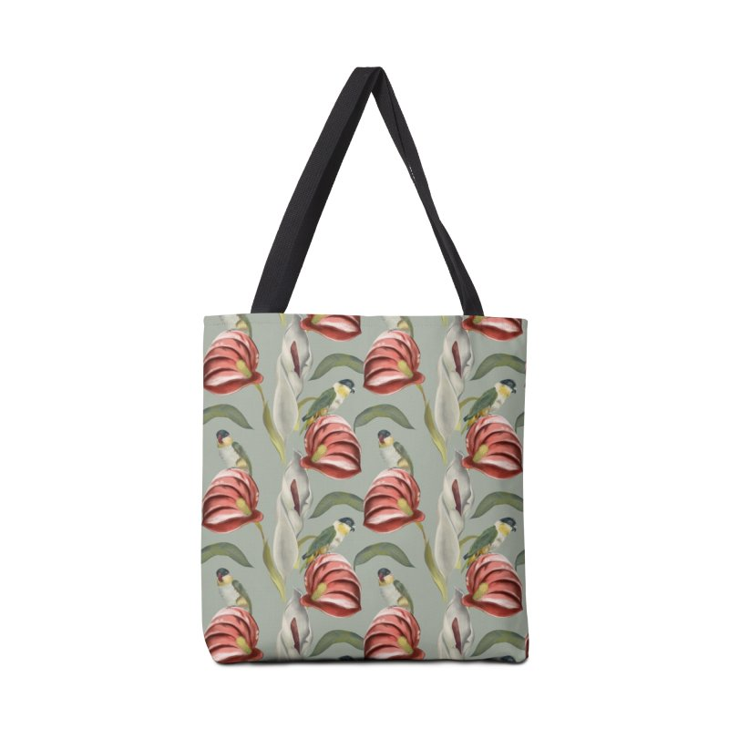 Parrots and red flowers Accessories Bag by Kreativkollektiv designs