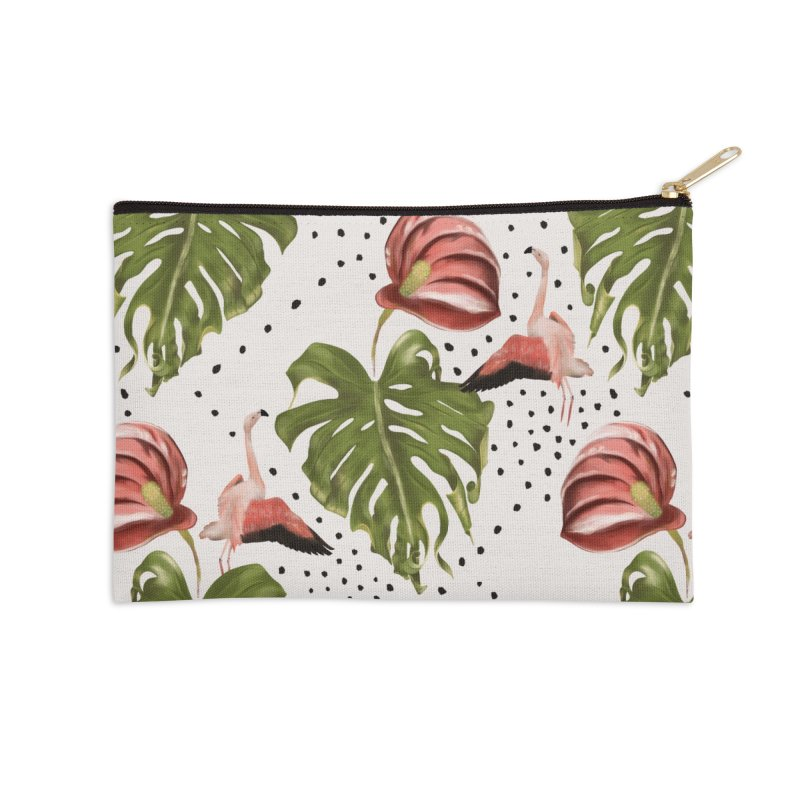 Spectacular leaf and red flower Accessories Zip Pouch by KreativkDesigns Artist shop