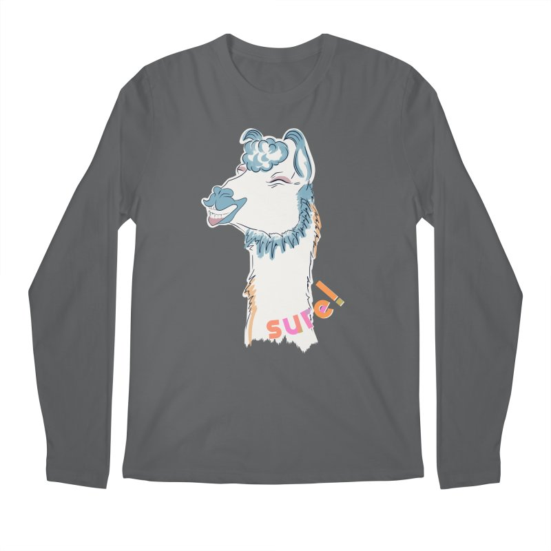 sure! funny llama Men's Longsleeve T-Shirt by KreativkDesigns Artist shop