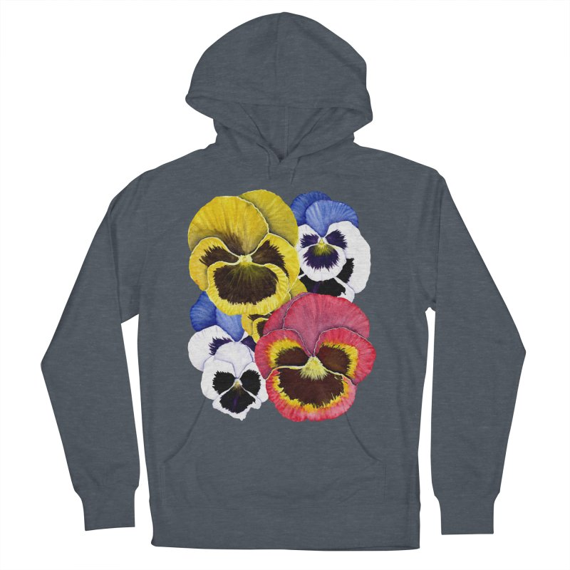 Pansies Women's French Terry Pullover Hoody by Kris Efe's Artist Shop