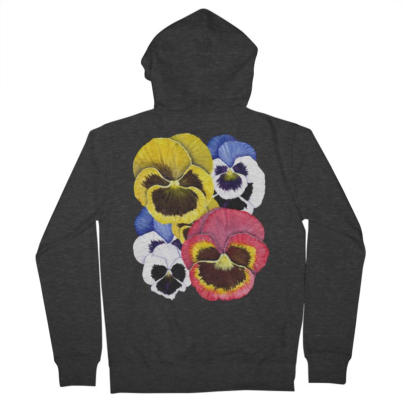Pansies Men's French Terry Zip-Up Hoody by Kris Efe's Artist Shop