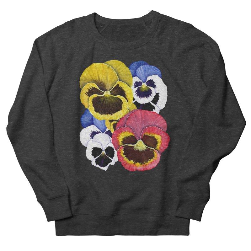 Pansies Women's French Terry Sweatshirt by Kris Efe's Artist Shop