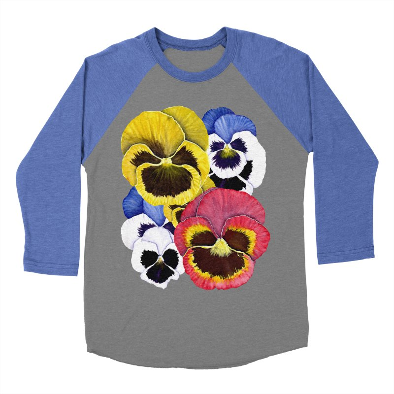 Pansies Women's Baseball Triblend Longsleeve T-Shirt by Kris Efe's Artist Shop