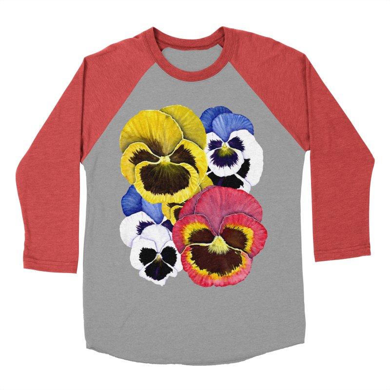 Pansies Women's Baseball Triblend Longsleeve T-Shirt by Kris Efe's Artist Shop