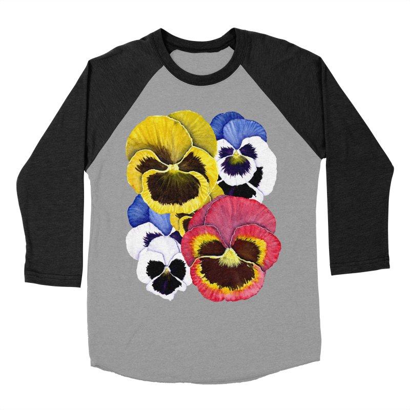 Pansies Men's Baseball Triblend T-Shirt by Kris Efe's Artist Shop