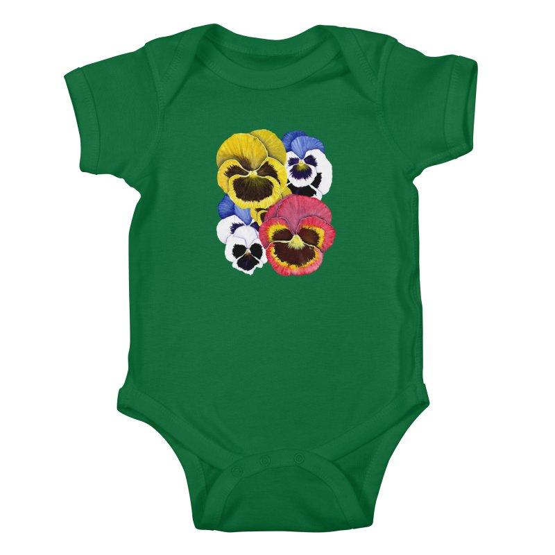 Pansies Kids Baby Bodysuit by Kris Efe's Artist Shop