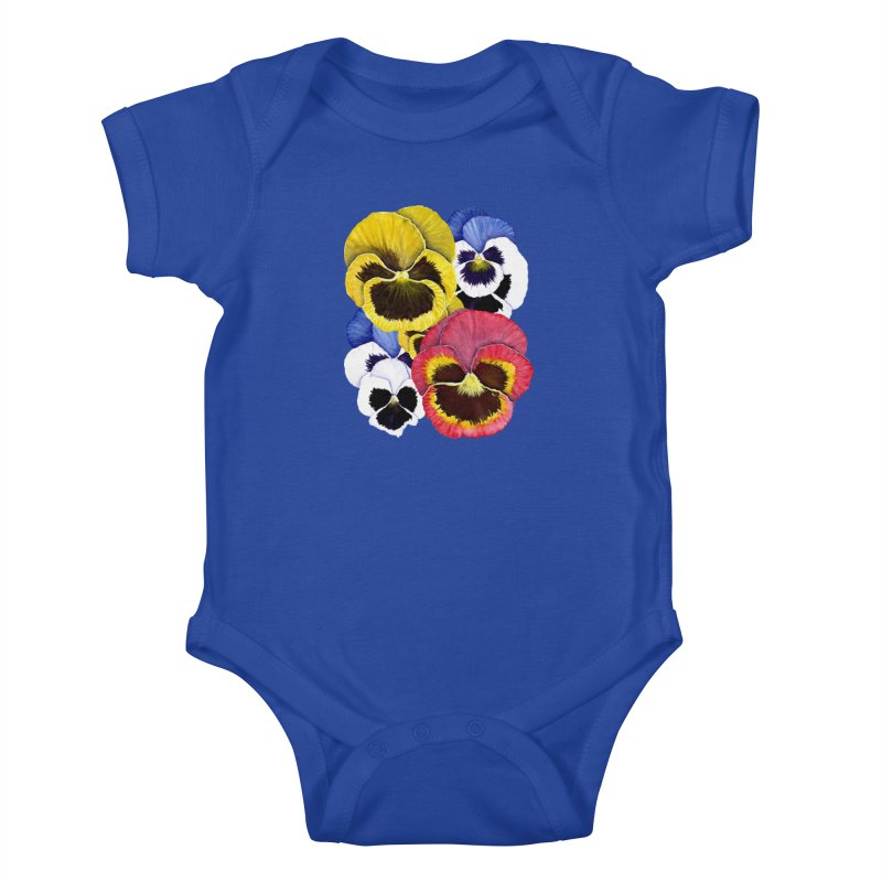 Pansies Kids Baby Bodysuit by Kris Efe's Artist Shop