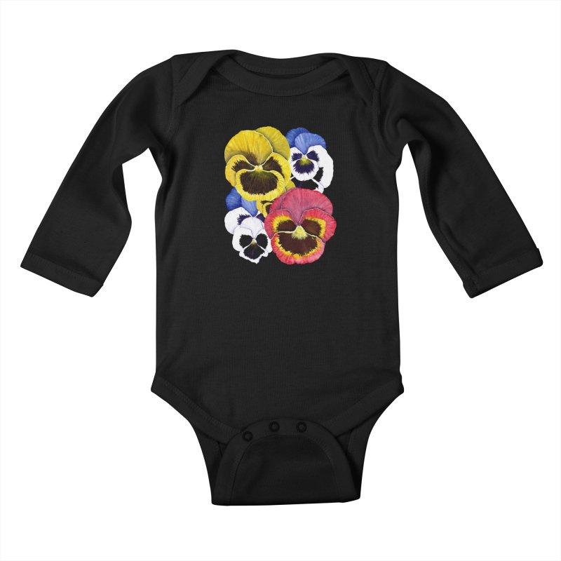 Pansies Kids Baby Longsleeve Bodysuit by Kris Efe's Artist Shop