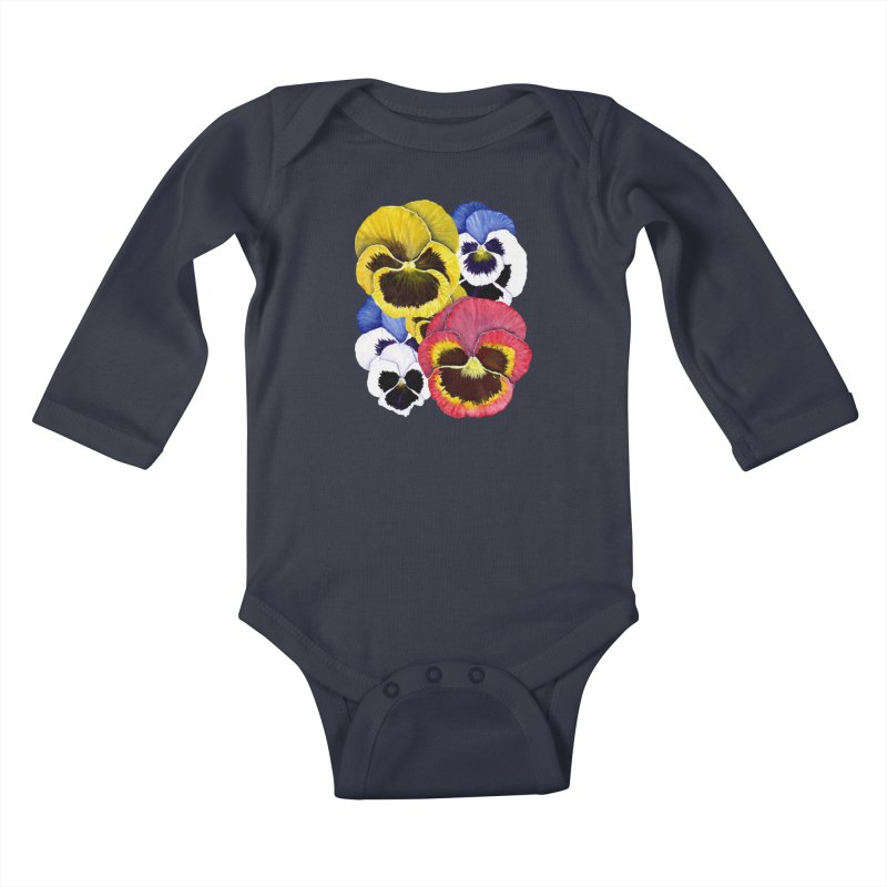 Pansies Kids Baby Longsleeve Bodysuit by Kris Efe's Artist Shop