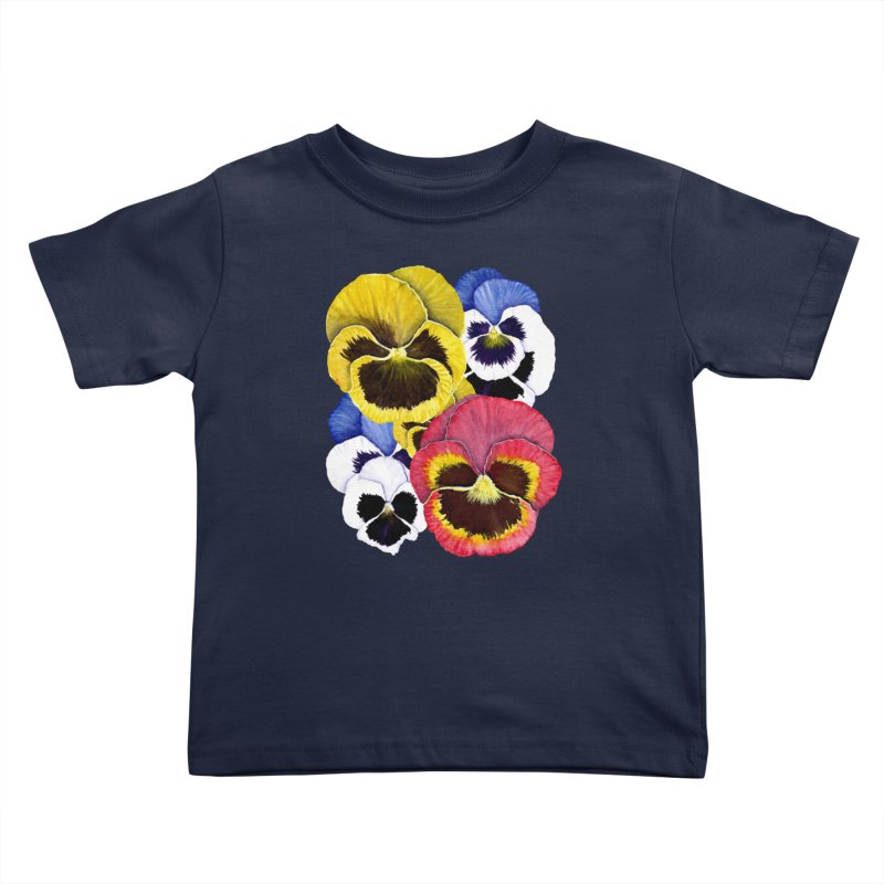 Pansies Kids Toddler T-Shirt by Kris Efe's Artist Shop