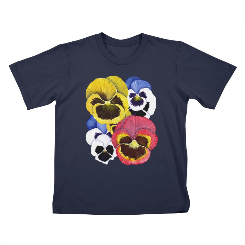 Pansies Kids T-shirt by Kris Efe's Artist Shop