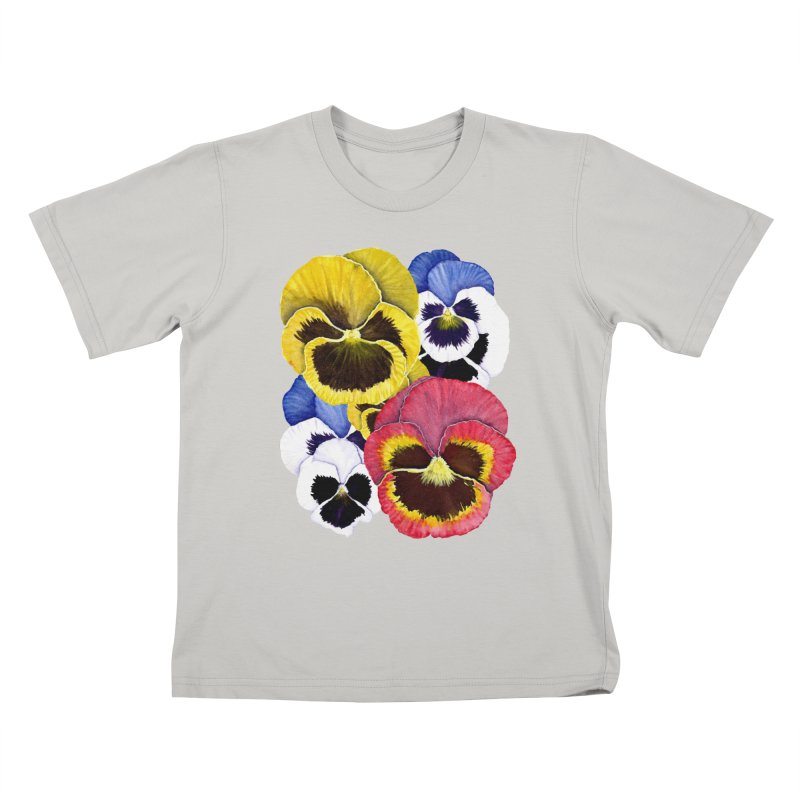 Pansies Kids T-Shirt by Kris Efe's Artist Shop