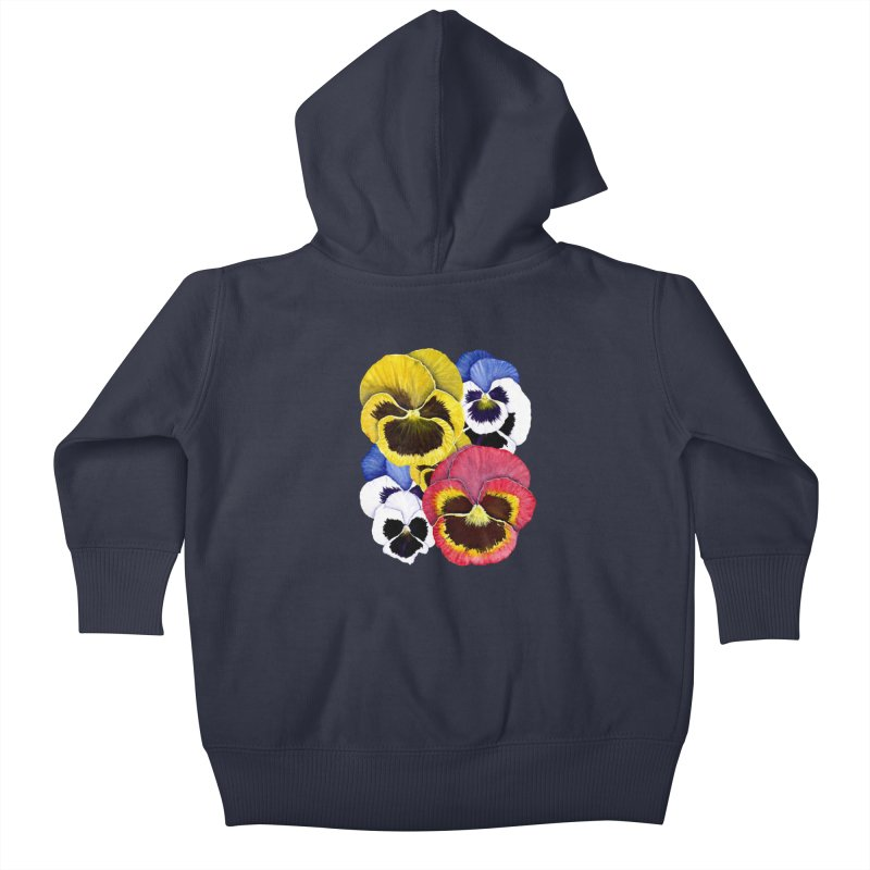 Pansies Kids Baby Zip-Up Hoody by Kris Efe's Artist Shop