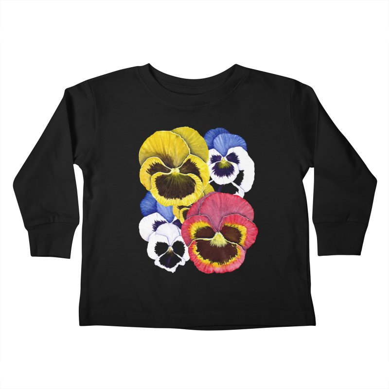 Pansies Kids Toddler Longsleeve T-Shirt by Kris Efe's Artist Shop