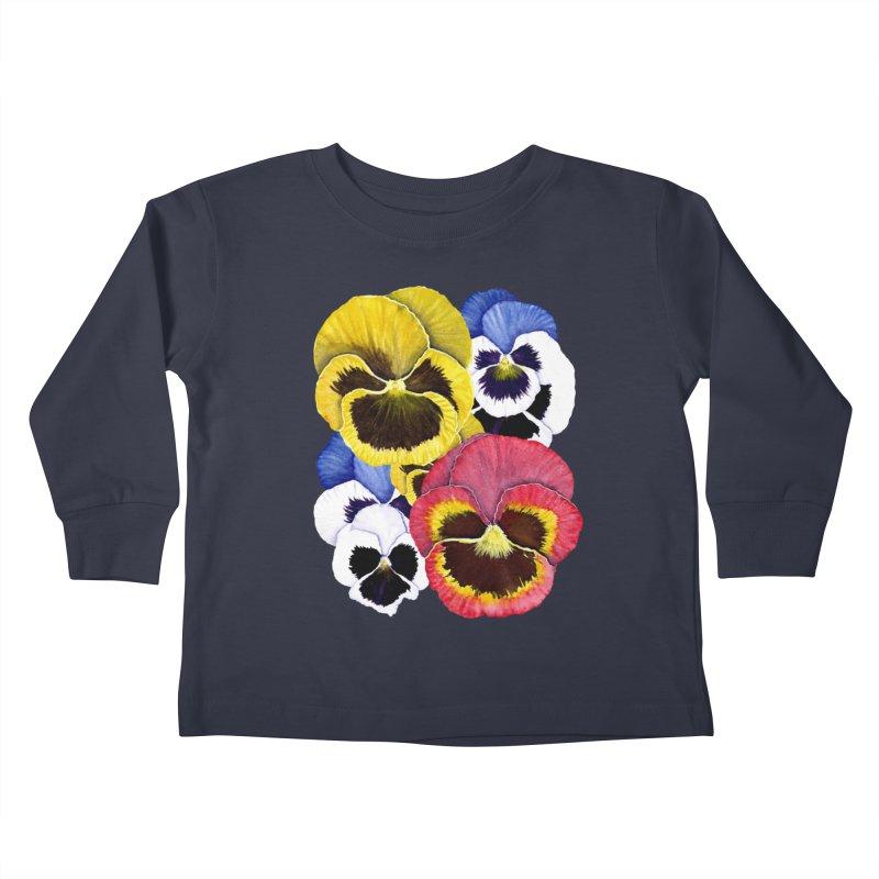 Pansies Kids Toddler Longsleeve T-Shirt by Kris Efe's Artist Shop