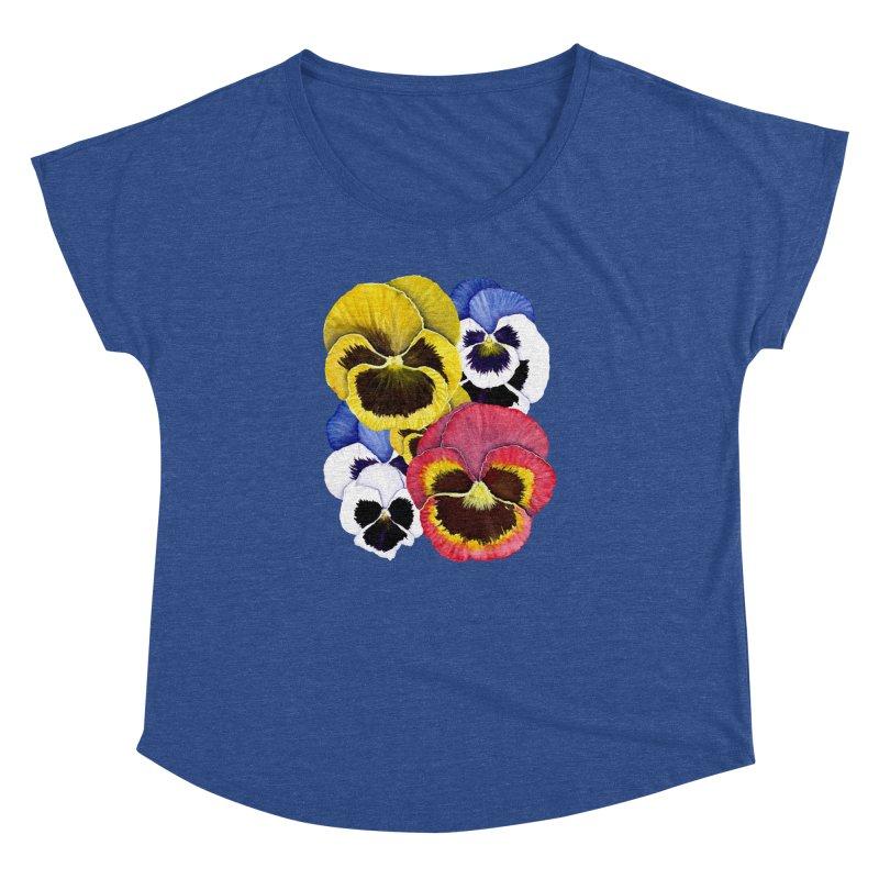 Pansies Women's Dolman Scoop Neck by Kris Efe's Artist Shop