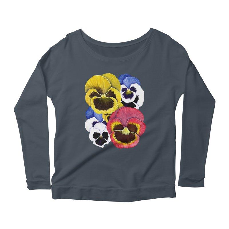 Pansies Women's Scoop Neck Longsleeve T-Shirt by Kris Efe's Artist Shop