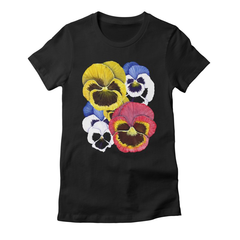 Pansies Women's Fitted T-Shirt by Kris Efe's Artist Shop