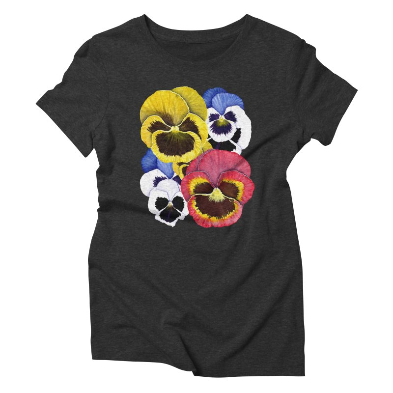 Pansies Women's Triblend T-Shirt by Kris Efe's Artist Shop