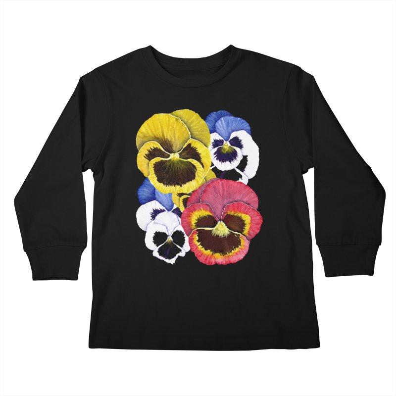 Pansies Kids Longsleeve T-Shirt by Kris Efe's Artist Shop