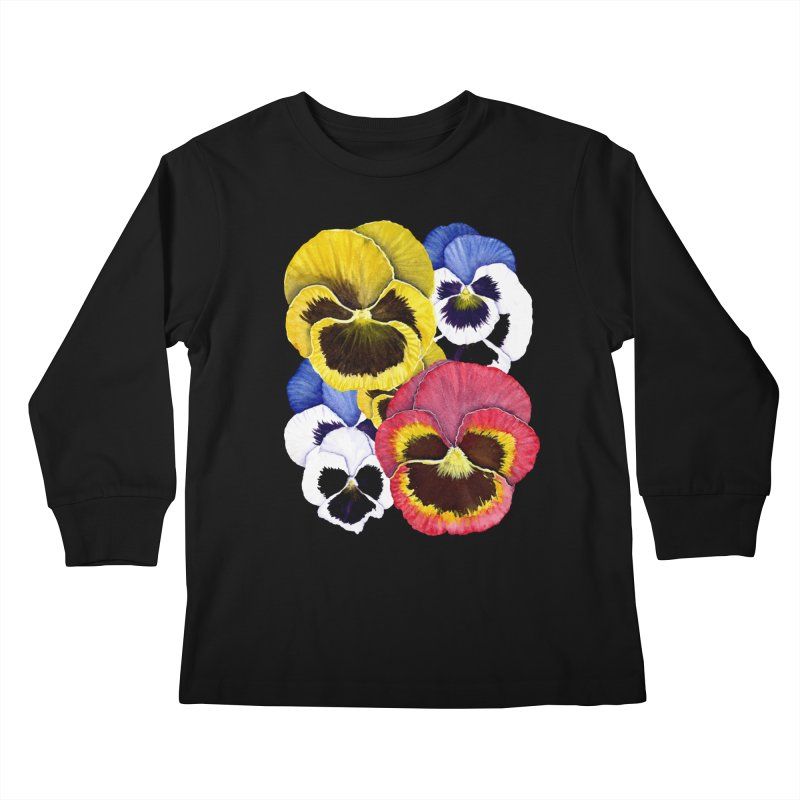 Pansies Kids Longsleeve T-Shirt by Kris Efe's Artist Shop