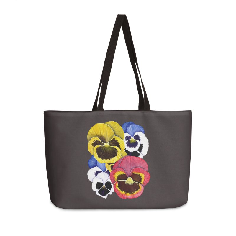 Pansies Accessories Weekender Bag Bag by Kris Efe's Artist Shop