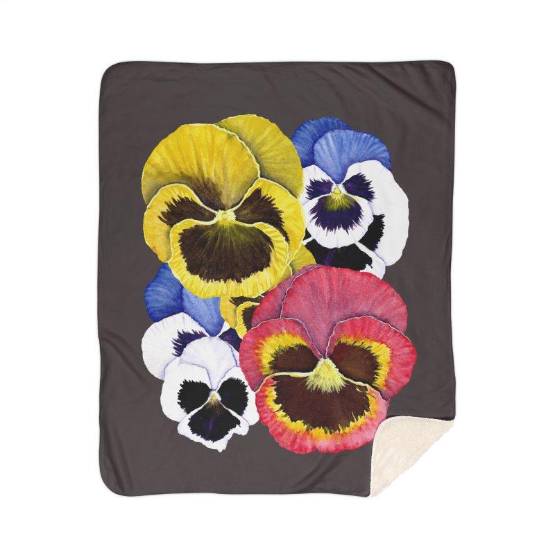 Pansies Home Sherpa Blanket Blanket by Kris Efe's Artist Shop
