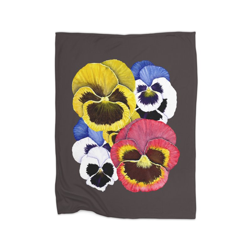 Pansies Home Fleece Blanket Blanket by Kris Efe's Artist Shop