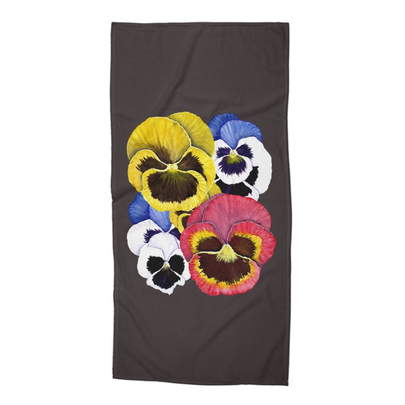 Pansies Accessories Beach Towel by Kris Efe's Artist Shop