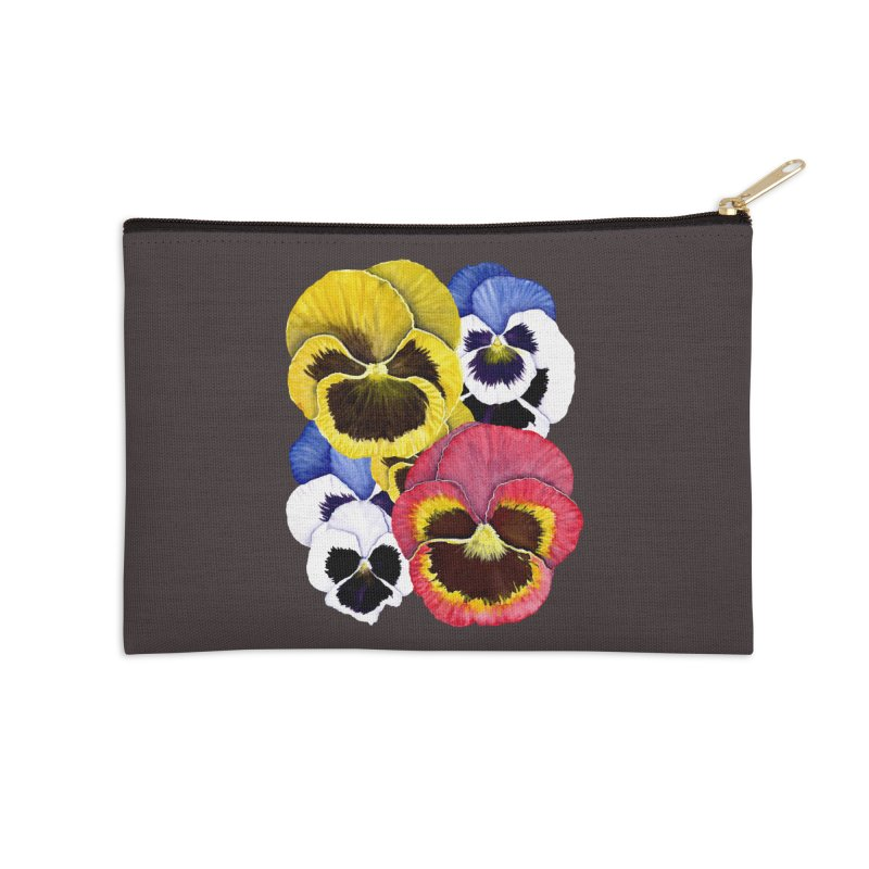 Pansies Accessories Zip Pouch by Kris Efe's Artist Shop