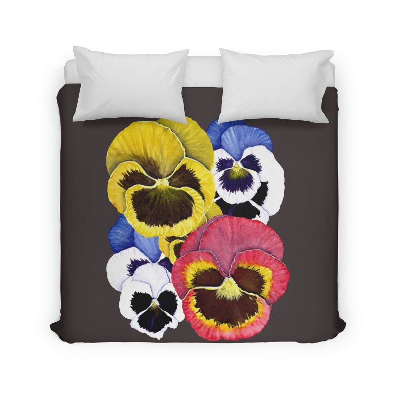 Pansies Home Duvet by Kris Efe's Artist Shop