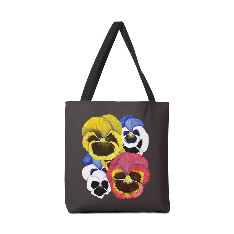 Pansies Accessories Tote Bag Bag by Kris Efe's Artist Shop