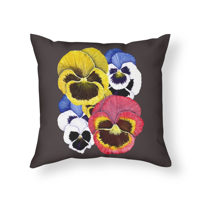 Pansies Home Throw Pillow by Kris Efe's Artist Shop