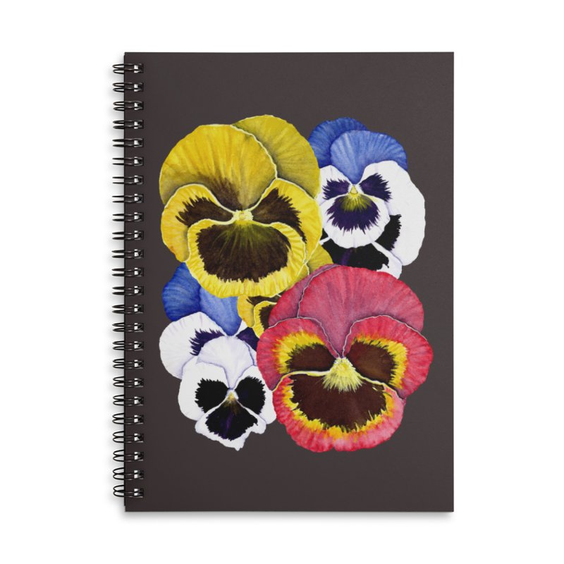Pansies Accessories Lined Spiral Notebook by Kris Efe's Artist Shop